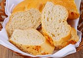 Crusty French bread in a basket.