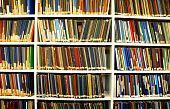 foto of book-shelf  - bookshelf or book shelf in a university library - JPG