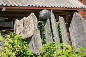 Rustic Fence, Pots And Rugs In Palekh, Vladimir Region, Russia