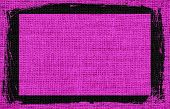 Deep magenta burlap textured background with black frame design