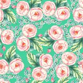 Hand drawn watercolor floral seamless pattern with tender pink roses in vector on the blue backgroun