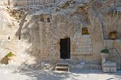 image of burial  - The Garden Tomb in Jerusalem is one of the two alleged burial sites of Jesus Christ - JPG