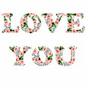 Tender illustration for your greeting card for St. Valentine day with floral watercolor writing Love