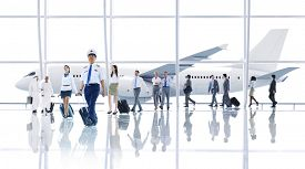 foto of cabin crew  - Travel Business People Cabin Crew Transportation Airplane Concept - JPG