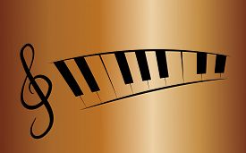 picture of rainbow piano  - Copper background with treble clef and piano - JPG