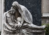 image of cemetery  - More than 100 years old statue - JPG
