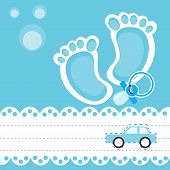 stock photo of pacifier  - Baby shower card with pacifier and toy car - JPG