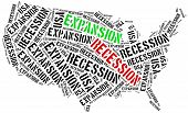 stock photo of stagnation  - Expansion and recession in USA - JPG
