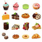 Постер, плакат: Cakes Icons Set