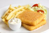 picture of tartar  - Plate of fried cheese chips tartar sauce salad - JPG