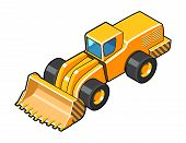 picture of wheel loader  - Classic front loader isometric view symbol - JPG
