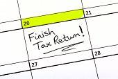 image of self assessment  - Tax Return date highlighted on a Calendar - JPG