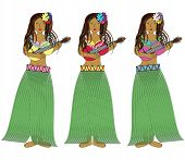 stock photo of hawaiian girl  - Hawaiian hula girls with guitars and necklaces made out of flowers - JPG