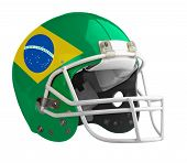 pic of football helmet  - Flagged Brazil American football helmet isolated on a white background with detailed clipping path - JPG