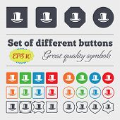 stock photo of cylinder  - cylinder hat icon sign Big set of colorful diverse high - JPG