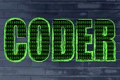 stock photo of binary code  - the word Coder with a binary code pattern fill and chalk - JPG