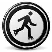 picture of inline skating  - illustration of roller skate black and silver icon - JPG