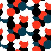 image of color spot black white  - Bold geometric pattern with randomly colored circles in red black white colors - JPG