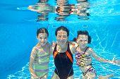 pic of swimming pool family  - Happy family swim underwater in pool and having fun - JPG
