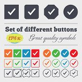 pic of high-quality  - Check mark tik icon sign Big set of colorful diverse high - JPG