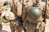 picture of knapsack  - two Soviet soldiers with knapsack and helmets behind - JPG