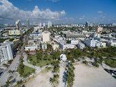 stock photo of drone  - Aerial Miami Beach drone photo taken over the ocean - JPG