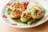 image of canapes  - canape with herring - JPG