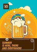 picture of beer mug  - Summer poster with mug of beer - JPG