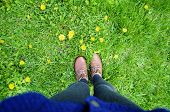 picture of boot  - Feet in boots on grass background - JPG