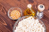 stock photo of popcorn  - popcorn and ingredients cooking popcorn top view