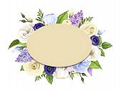 picture of blue rose  - Vector cardboard oval card with blue - JPG