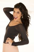 pic of tights  - Happy brunette posing tight black top smiling - JPG