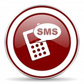 foto of sms  - sms red glossy web icon