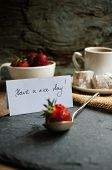 pic of middle eastern culture  - Cup of coffee eastern sweets and fresh strawberries on the old wooden table - JPG