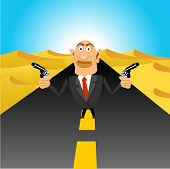 stock photo of handgun  - illustration of brutal gangster standing in the middle of the road in the desert holding handguns - JPG