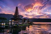 foto of hindu  - Pura Ulun Danu Bratan Hindu temple on Bratan lake Bali Indonesia - JPG