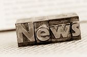 stock photo of newsletter  - the word news written with lead letters - JPG