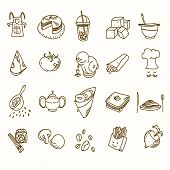 stock photo of teapot  - Food cafe set Morning breakfast lunch or dinner kitchen doodle hand drawn sketch rough simple icons coffee - JPG