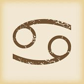 picture of cancer horoscope icon  - Grungy brown icon with cancer zodiac symbol - JPG