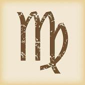 stock photo of virgo  - Grungy brown icon with virgo zodiac symbol - JPG