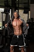 pic of hoodie  - Portrait Of A Physically Fit Man In Hoodie  - JPG