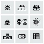 picture of faq  - Vector FAQ icon set on grey background - JPG