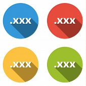 picture of pornography  - Set of 4 isolated flat colorful buttons  - JPG