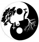 foto of yin  - Silhouette of man and tree in Yin Yang symbol - JPG