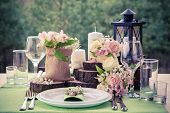 stock photo of marriage decoration  - Wedding table setting in rustic style - JPG