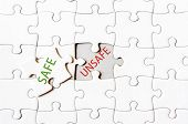 pic of unsafe  - Missing jigsaw puzzle piece with word SAFE covering text UNSAFE - JPG