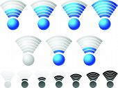 pic of indications  - Bright blue wireless signal strength indicator set with grayscale monochrome version included - JPG