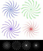 picture of dash  - Various colorful abstract spirally elements with dashed lines - JPG