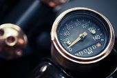 stock photo of mph  - Color detail with the speedometer of a motorcycle - JPG