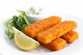 picture of tartar  - Golden fried fish fingers with lemon and tartar sauce - JPG